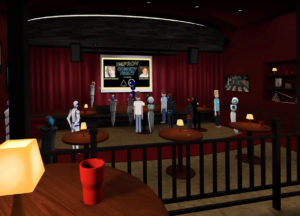 A virtual meeting place from AltspaceVR, one of the many companies bringing users together through social VR.